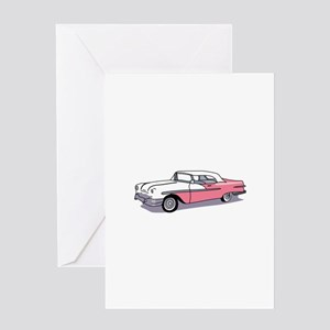 PINK CLASSIC CAR Greeting Cards