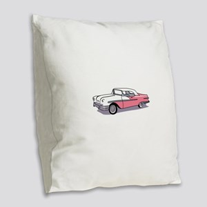 PINK CLASSIC CAR Burlap Throw Pillow