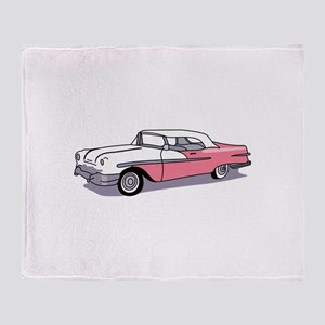 PINK CLASSIC CAR Throw Blanket
