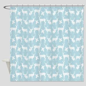 Deer on Light Blue Shower Curtain