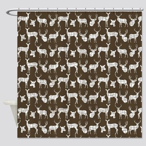 Deer on Brown Shower Curtain