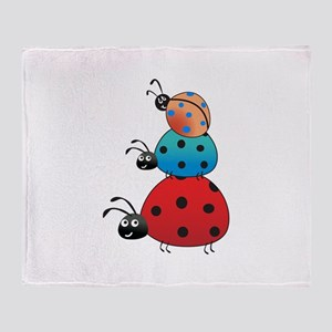 STACKED LADY BUGS Throw Blanket