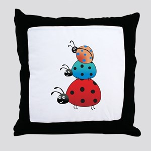 STACKED LADY BUGS Throw Pillow
