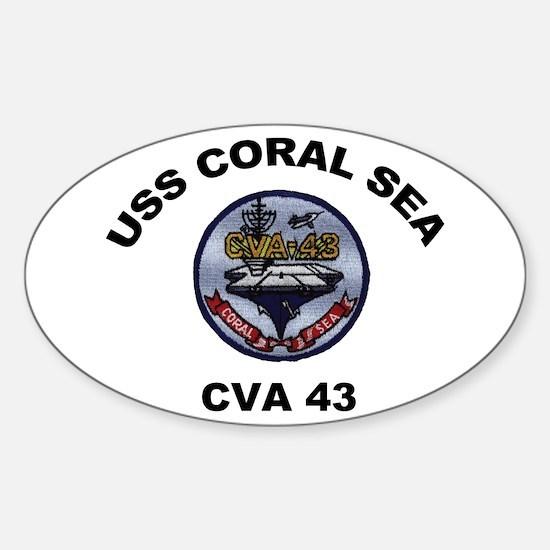 CVA-43 USS Coral Sea Sticker (Oval)