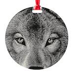 Wolf Sketch Round Ornament