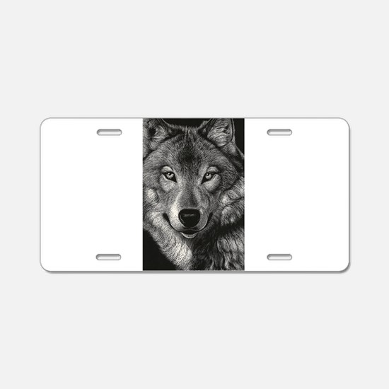 Wolf Sketch Aluminum License Plate