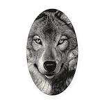 Wolf Sketch Oval Car Magnet