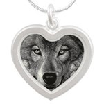 Wolf Sketch Silver Heart Necklace
