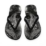 Wolf Sketch Flip Flops