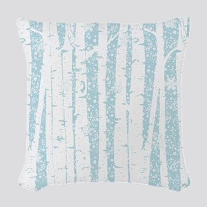White Birch Trees Blue Sky Woven Throw Pillow