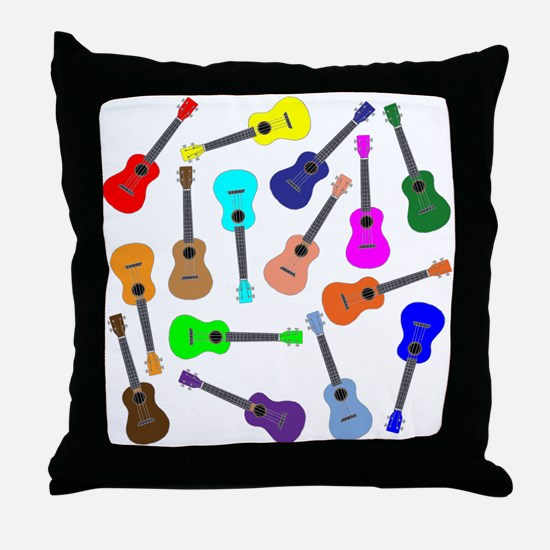 Rainbow Ukuleles Throw Pillow