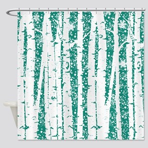 White Birch Trees Teal Shower Curtain
