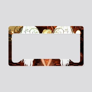The beautiful steampunk angel License Plate Holder