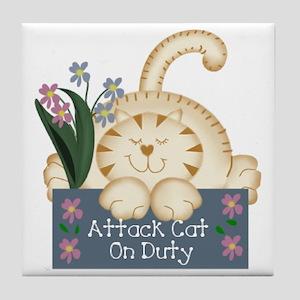 ATTACK CAT Tile Coaster