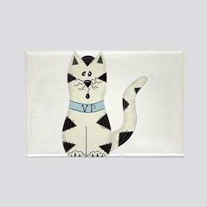 BLACK/WHITE CAT Rectangle Magnet