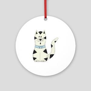 BLACK/WHITE CAT Ornament (Round)
