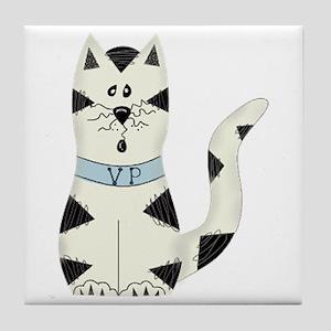 BLACK/WHITE CAT Tile Coaster