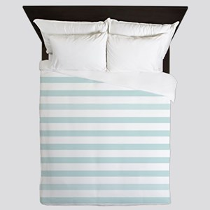 Light Blue Horizontal Stripe Queen Duvet