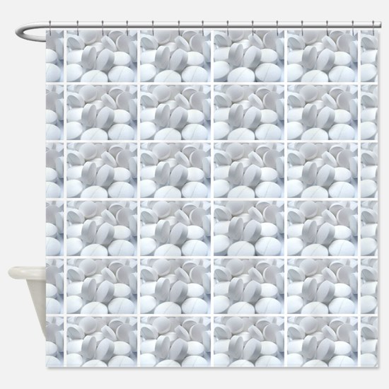 white pills drugs photo Shower Curtain
