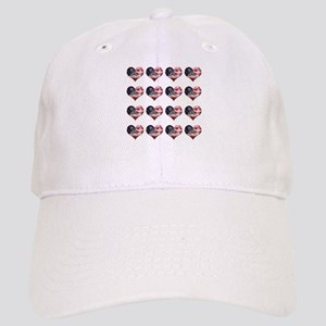 red white blue hearts art Cap