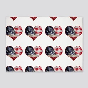 red white blue hearts art 5'x7'Area Rug