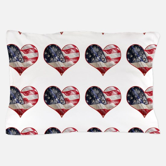 red white blue hearts art Pillow Case