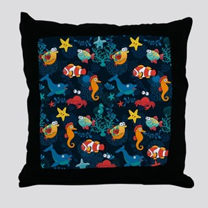 Silly Ocean Creatures Throw Pillow