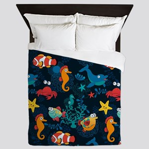 Silly Ocean Creatures Queen Duvet