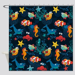 Silly Ocean Creatures Shower Curtain