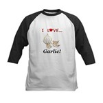 I Love Garlic Kids Baseball Jersey