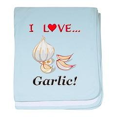 I Love Garlic baby blanket