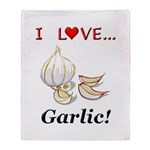 I Love Garlic Throw Blanket