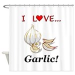 I Love Garlic Shower Curtain