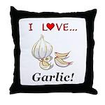 I Love Garlic Throw Pillow