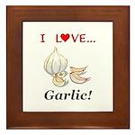 I Love Garlic Framed Tile