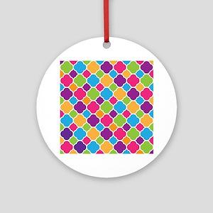 Rainbow Quatrefoil Pattern Ornament (Round)