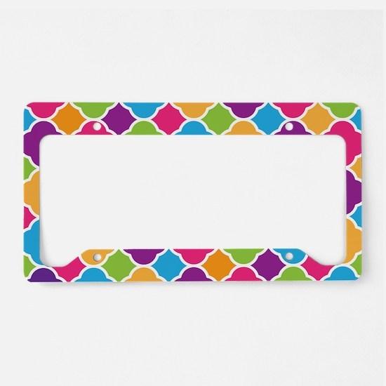 Rainbow Quatrefoil Pattern License Plate Holder