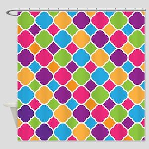 Rainbow Quatrefoil Pattern Shower Curtain