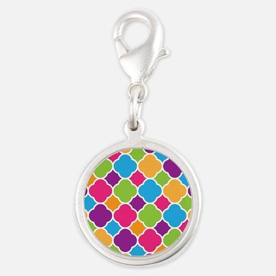 Rainbow Quatrefoil Pattern Charms