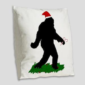 Christmas Squatchin Burlap Throw Pillow