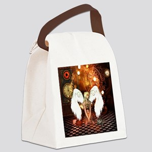 The beautiful steampunk angel Canvas Lunch Bag