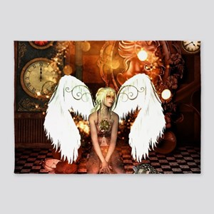 The beautiful steampunk angel 5'x7'Area Rug