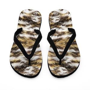 66ef1a507936 Leopard Fur Flip Flops - CafePress