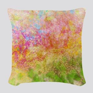 Soft Floral Abstract Design Woven Throw Pillow