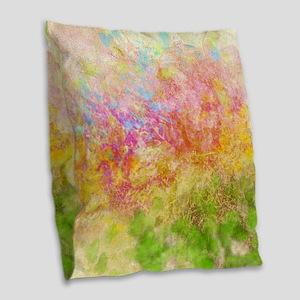 Soft Floral Abstract Design Burlap Throw Pillow