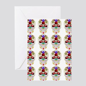 mexican sugar skulls white art Greeting Card