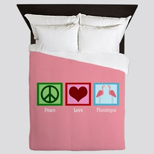 Peace Love Flamingos Queen Duvet
