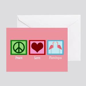 Peace Love Flamingos Greeting Card