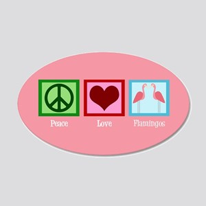 Peace Love Flamingos 20x12 Oval Wall Decal