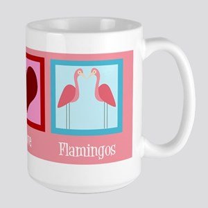 Peace Love Flamingos Large Mug